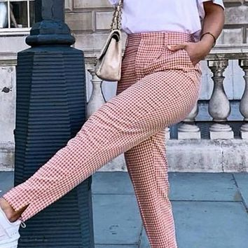 Feeling Real Pink White Plaid Pattern Slim Fit High Waist Trouser Pant