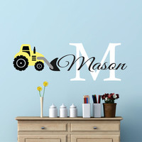 Construction Name Tractor Wall Decal, Tractor Wall Decal, Construction Equipment, Nursery Name Decal, Boy Bedroom Wall Decal