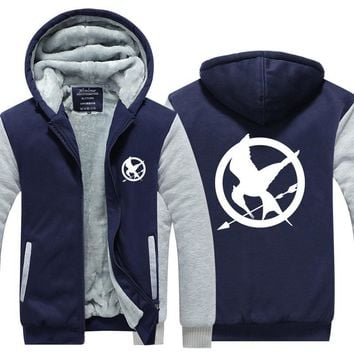 The Hunger Games Fleece Winter Hoodies Men Man Sweatshirt Fire Phoenix Exercise Movie Sweatshirt Clothing Streetwear Plus Size