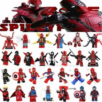 Deadpool Dead pool Taco Legoing  Building Blocks Toys Super Heroes SpiderMan Thanos Thor Avenger Movie Figures Compatible Legoings Marvel Figure AT_70_6