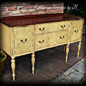 Antique buffet, yellow buffet, Distressed buffet, shabby chic buffet, rustic buffet, antique sideboard, shabby chic sideboard, painted