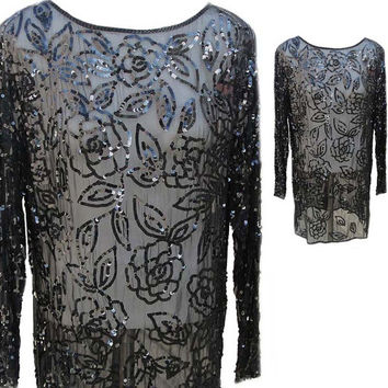 Black Silk Sheer Sequined and Beaded Tunic Top with Long Sleeves - Fits Size Small