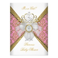 Baby Shower Girl White Pink Princess Damask