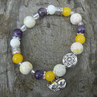 Cat Lovers Bracelet, Silver Tones Bracelet, Amethyst and Yellow Bracelet, Stretchy Bracelet, Handmade Jewelry, Unique Gift, Christmas Gift