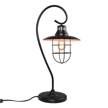 LNC Industrial Table Lamp, Black Desk Lamp for Living Room, Bedroom, Office