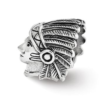 Antiqued Sterling Silver 3D Chief in Headdress Charm