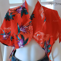 Vintage Red Floral Tie Scarf, Hukilau Fashions Honolulu Hawaii, Size S/M