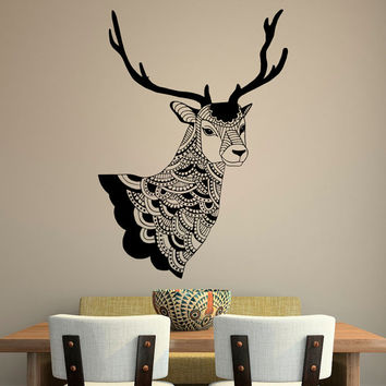 Deer Wall Decal Country Wall Decals Vinyl Stickers Tribal Boho Bohemian Bedroom Living Room Rustic Wall Art Hunting Deer Head Decor U014