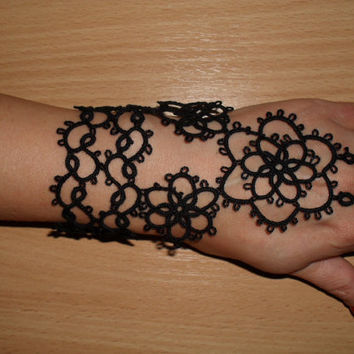Tatted black bracelets (pair)