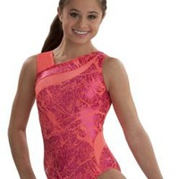 Bold Coral Workout Leotard from GK Elite