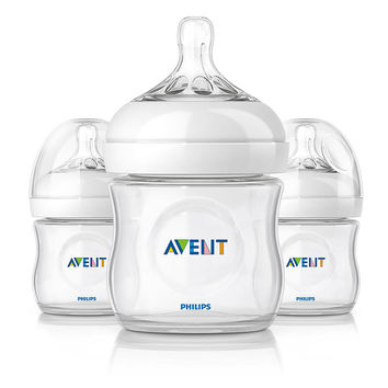 Philips AVENT 4 Ounce BPA Free Natural Polypropylene Bottles 3 Pack
