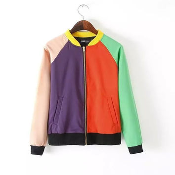 Block Zippered Jacket With Pocket