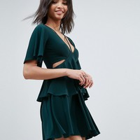 ASOS Cut Out Fluted Sleeve Tiered Skater Mini Dress at asos.com