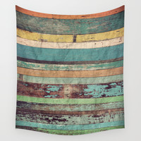 Wooden Vintage Wall Tapestry by Patterns And Textures