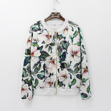 Trendy Women Fashion Coat Retro Floral Zipper Up Bomber Jacket Casual Coat Autumn Outwear Women Clothes AT_94_13