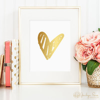 Gold foil heart, hand drawn, printable wall art decor, love art, faux gold foil, instant digital download JPG)