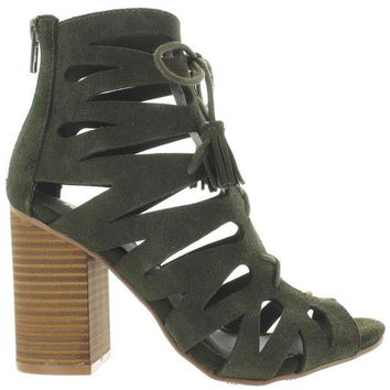 ONETOW MIA Cara - Olive Suede Cutout Tassel Lace Bootie