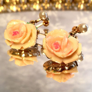 Vintage Celluloid Pink Rose Screw Back Earrings in Gold Tone