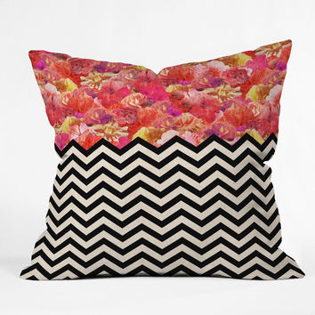 Bianca Green Chevron Flora 1 Throw Pillow