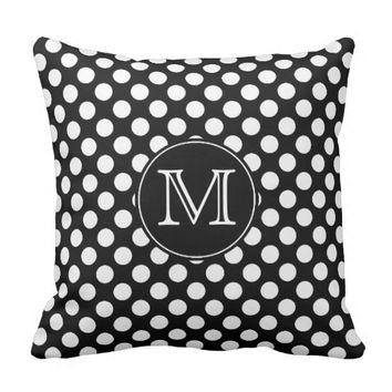 Monogram Black and White Polka Dot Throw Pillow
