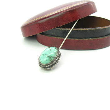 Antique Turquoise Stick Pin. Victorian Sterling Silver, Robin's Egg Blue Black Matrix Oval Cabochon Gemstone. 1900s Hat Tie Cravat Jewelry