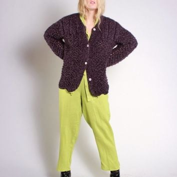 Purple Chunky Knit Cardigan / L