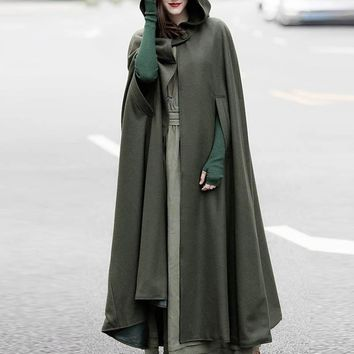 Trendy ZANZEA Retro Solid Hooded Button Open Front Irregular Long Jackets 2018 Winter Casual Vintage Oversized Cloak Poncho Cardigans AT_94_13