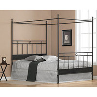 Cara Black Metal Queen-size Canopy Bed | Overstock.com