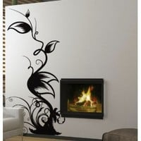 Vinyl Wall Art Decal Sticker Floral Leaves Swirl 6ft Tall #322