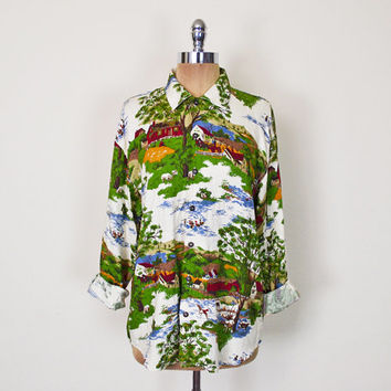 Vintage 80s 90s Country Farm People Scene Scenic Novelty Print Shirt Blouse Top Button Up Button Down Slouchy Oversize Shirt Women S M L