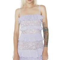 Lilac Cosmic Tiered Lace Dress