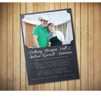Simplistic Chalkboard Style Wedding Invitation with engagment photo, PRINTABLE Invitation, modern, rustic, chalkboard invite.