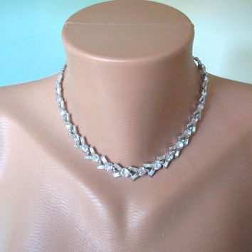 Great Gatsby Jewelry, Wedding Jewelry, Crystal Necklace, Rhinestone Necklace, Diamante Choker, Bridal Jewelry, Art Deco Jewelry, Downton