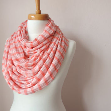 Infinity Circle Scarf, Peach Tricot Fashion Scarves, Women's Fashion Accessories