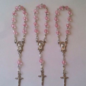 24 Pink Mini Acrylic Rosary Favors Baptism/Communion Rosarios de Bautizo/Communion