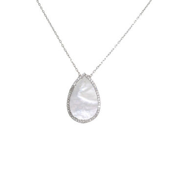 Mother of Pearl Teardrop CZ Necklace