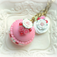 Macaron jewelry, rose macaroon necklace, handmade food necklace, whimsical jewelry, lolita accessories, gift under 20