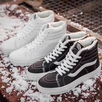 Fashion Online Shosouvenir Vans Warm Winter Classic Cashmere Leather Zipper Casual Shoes