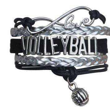 Girls Volleyball Infinity Bracelet- Black