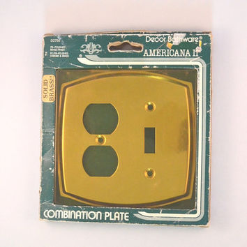Vintage Combination Light And Outlet Brass Cover, Decor Bathware Americana II D2756 Combination Plate, Brass Combination Plate NOS