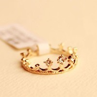 Cute Rhinestone Crown Tail Ring from LOOBACK FASHION STORE
