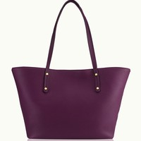 GiGi New York Taylor Tote Wine Pebble Grain Leather