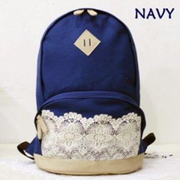 Landiya Canvas Backpack with Lace/ Preppy Style Knapsack/ Casual Rucksack/ School Backpack - 4 Colors (Navy blue)