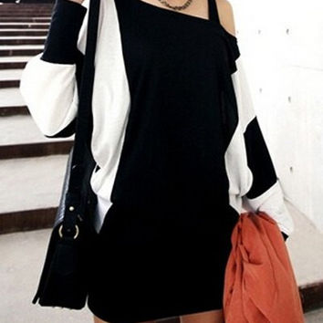 Color Block Batwing Sleeve Mini Dress