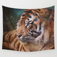 The mysterious eye of the tiger Wall Tapestry by Guido Montañés