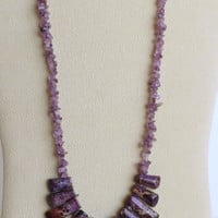 Imperial Purple Jasper Necklace with Amethyst Chips and Sterling Silver Clasp, Statteam