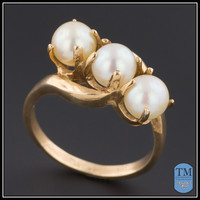Vintage 14k Gold & Pearl Ring - Size 7