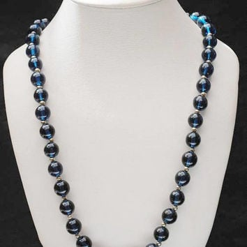 Blue Glass Bead  necklace  - round dark cobalt  blue beads - silver beads - long 34 inch necklace