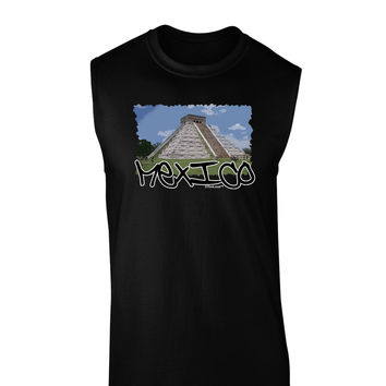 Mexico - Mayan Temple Cut-out Dark Muscle Shirt