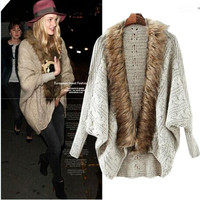 Fur Embroidered Long Sleeve Cardigans Sweaters